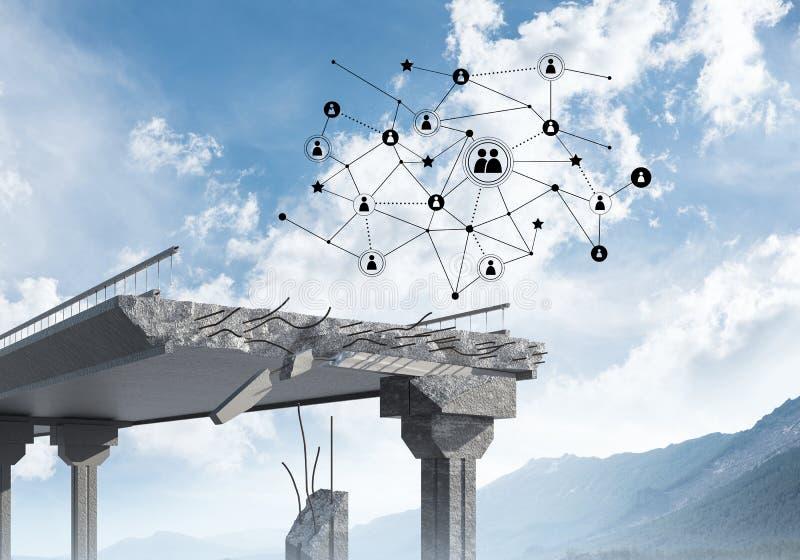Puente de piedra dañado como idea para el problema y la conexión social c ilustración del vector