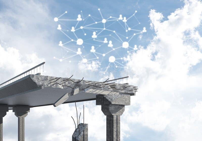 Puente de piedra dañado como idea para el problema y la conexión social c stock de ilustración
