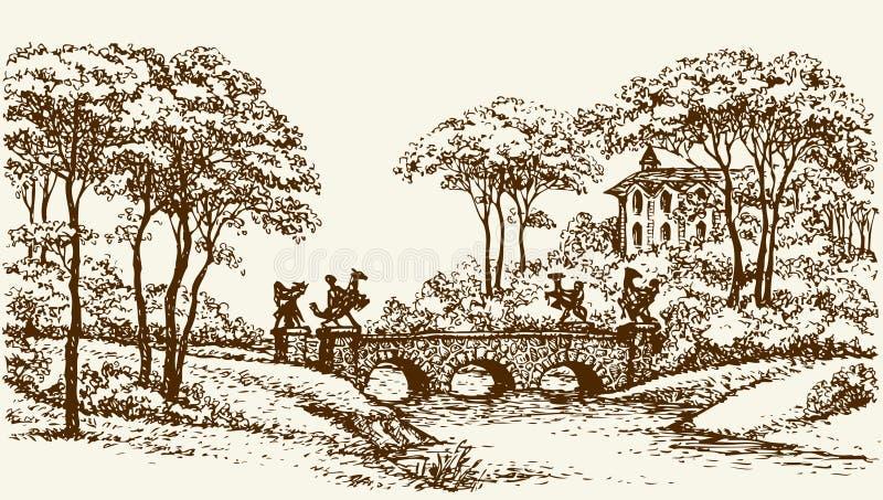 Puente de piedra en parque viejo Gráfico del vector libre illustration