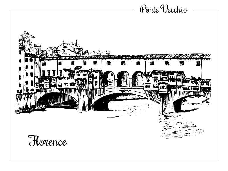 Puente de Ponte Vecchio en Florencia, Italia Bosquejo dibujado mano del vector ilustración del vector