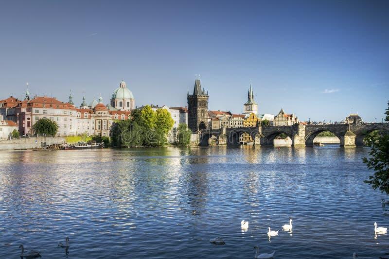 Puente de Praga - de Charles y río de Moldava imagen de archivo