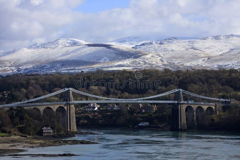 Puente de suspensión de Menai foto de archivo