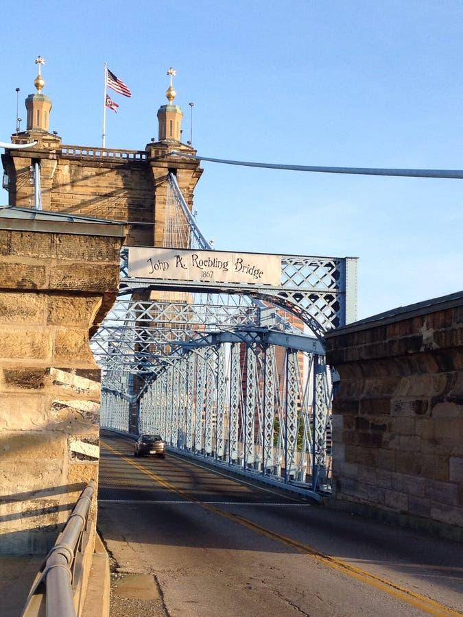 Puente de suspensión de Roebling imagen de archivo libre de regalías