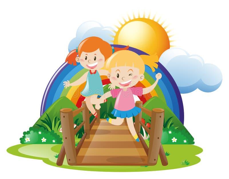 Puente de travesía de dos muchachas ilustración del vector