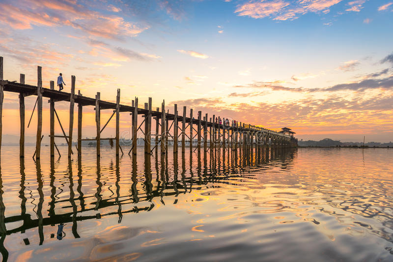 Puente de U-Bein de Myanmar fotografía de archivo libre de regalías