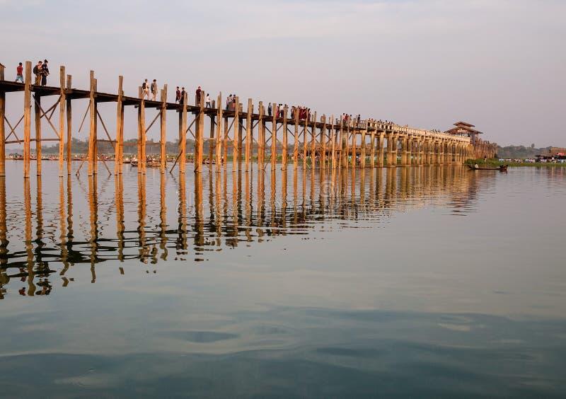 Puente de Ubein en Mandalay, Myanmar foto de archivo libre de regalías