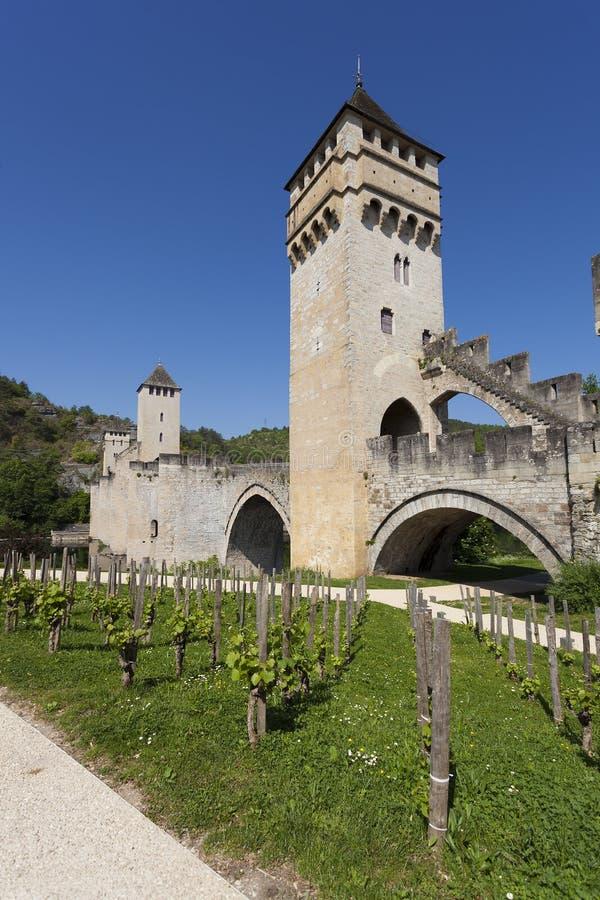 Puente de Valentre en Cahors imagenes de archivo