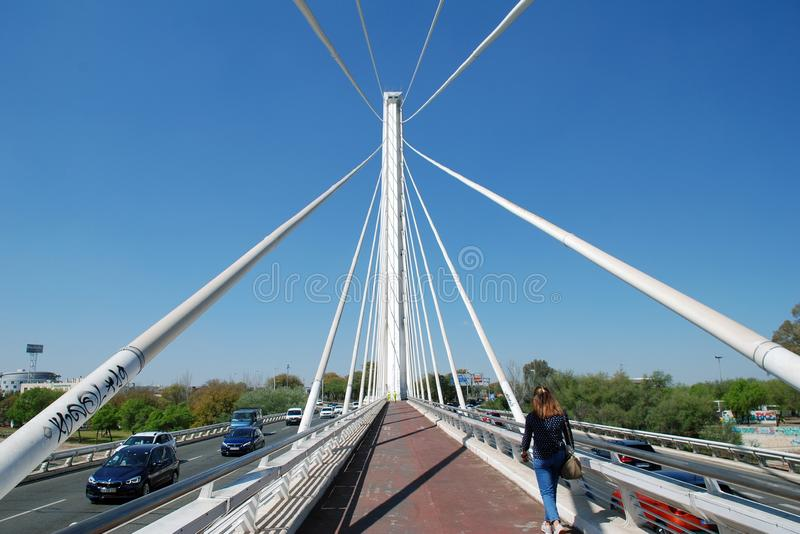 Puente del Alamillo in Seville. The Puente del Alamillo Alamillo Bridge crossing to Cartuga island in Seville, Spain on April 3, 2019. Designed by Santiago stock photography