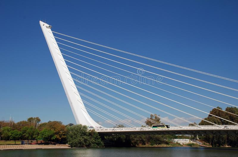 Puente del Alamillo, Seville. The Puente del Alamillo Alamillo Bridge crossing to Cartuga island in Seville, Spain on April 3, 2019. Designed by Santiago stock photos