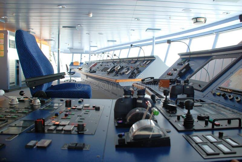 Puente del barco de cruceros adentro fotografía de archivo
