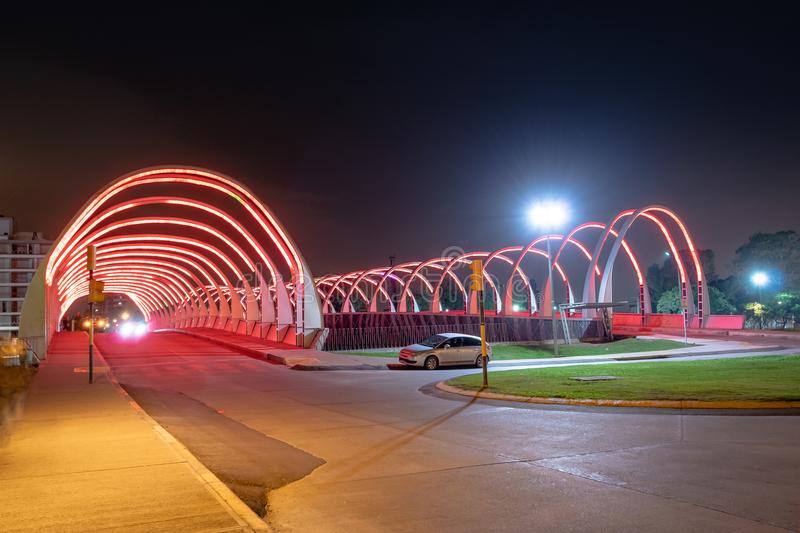 Puente del Bicentenario Bicentenary Bridge at night - Cordoba, Argentina stock photos