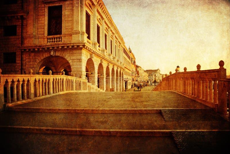 Puente del canal en Venecia con textura del vintage foto de archivo libre de regalías