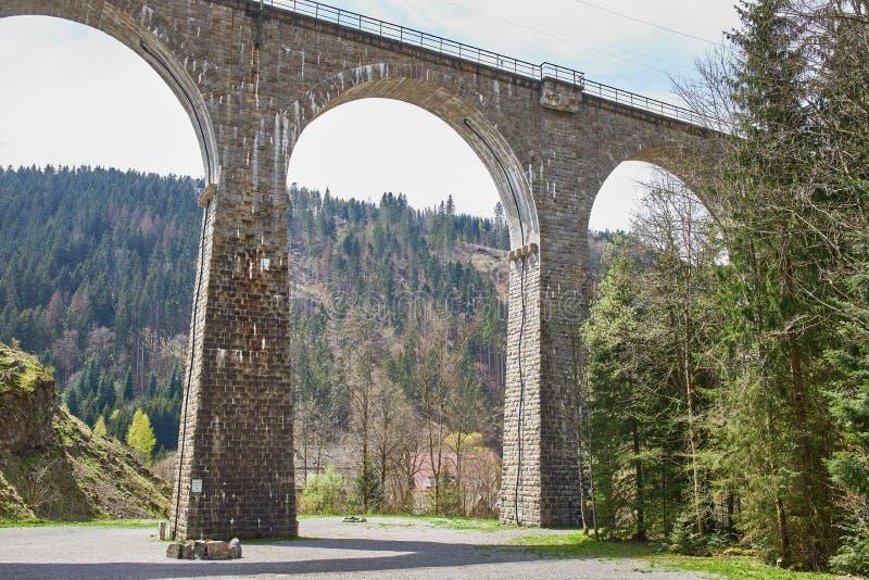 Puente del ferrocarril cerca del barranco de Ravena en el más fotrest negro foto de archivo libre de regalías