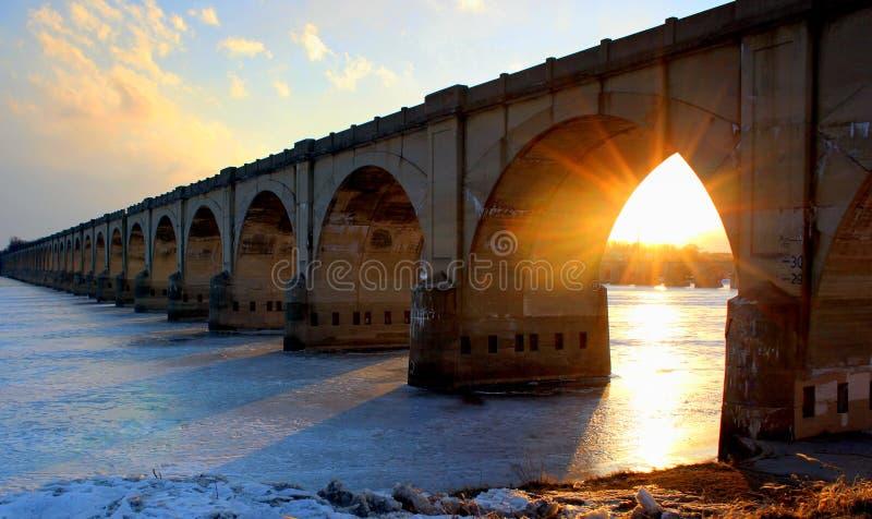 Puente del ferrocarril de Philadelphia y de la lectura sobre el río Susquehanna en Harrisburg, Pennsylvania fotos de archivo libres de regalías