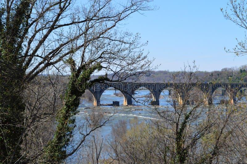 Puente del ferrocarril sobre el James fotos de archivo