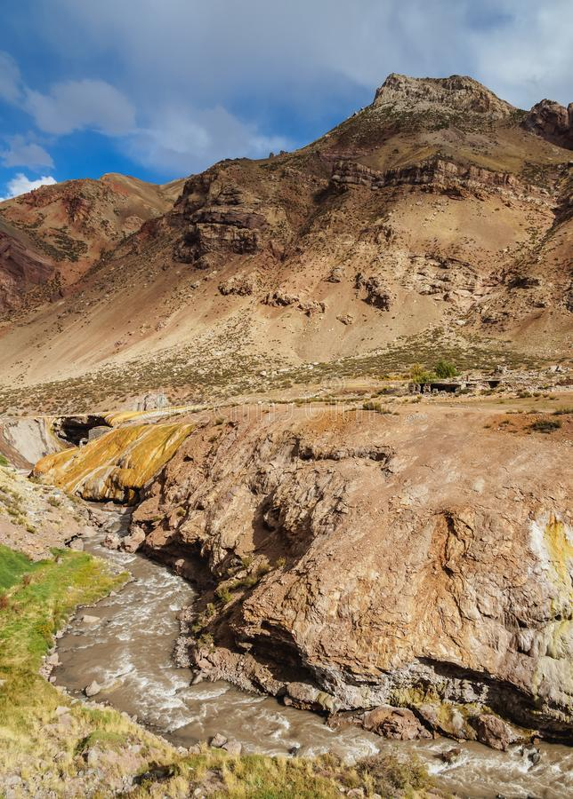 Puente del Inca na província de Mendoza, Argentina foto de stock royalty free