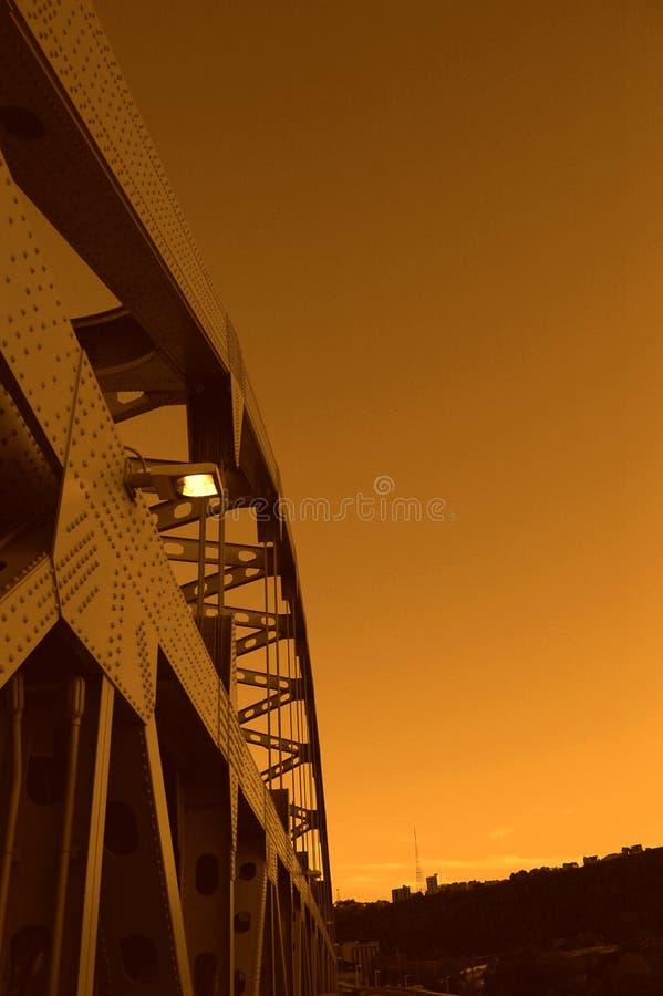Puente del pie Duquesne en la puesta del sol foto de archivo libre de regalías