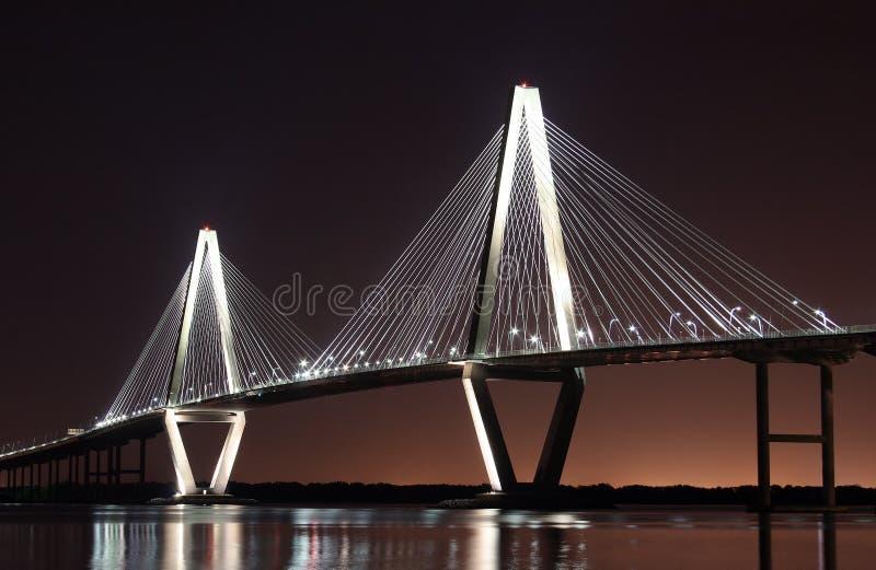 Puente del río del fabricante de vinos en la noche fotos de archivo