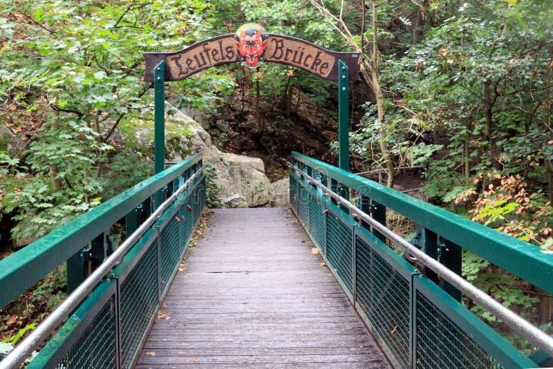 Puente del ` s del diablo en Harzer Hexenstieg en las montañas de Harz imagen de archivo libre de regalías