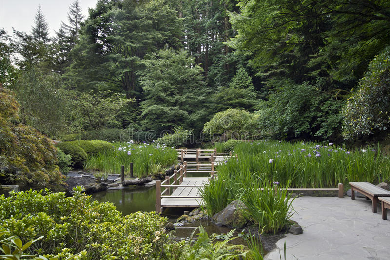 Puente del zigzag en el jardín japonés imagenes de archivo