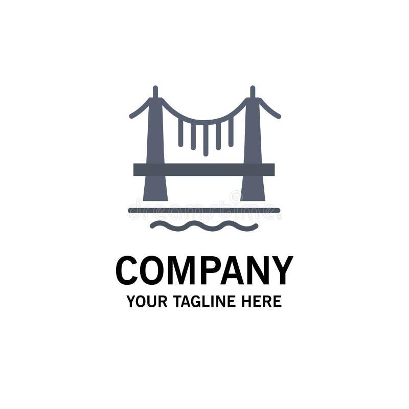 Puente, edificio, ciudad, negocio Logo Template del paisaje urbano color plano stock de ilustración