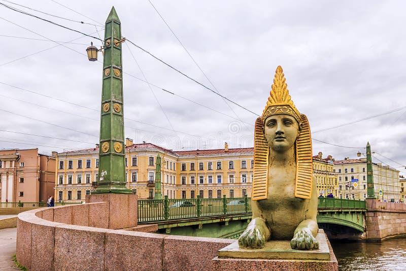 Puente egipcio en St Petersburg imagenes de archivo
