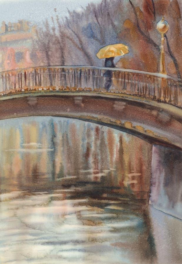 Puente en la acuarela del paraguas de la lluvia ilustración del vector