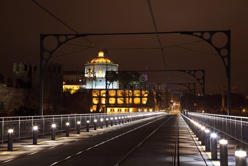 Puente en la noche, Oporto de los Dom Luis imágenes de archivo libres de regalías