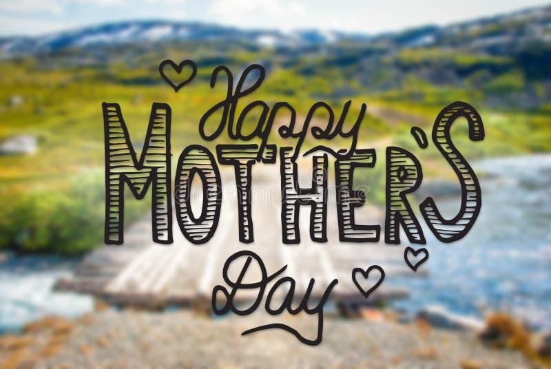 Puente en las montañas de Noruega, día de madres feliz de la caligrafía imagen de archivo