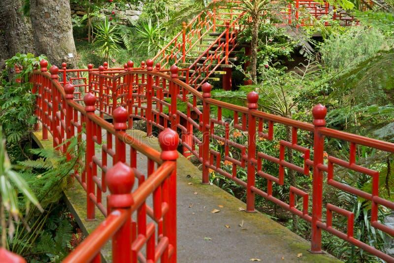 Puente en Monte Palace Tropical Garden imagen de archivo