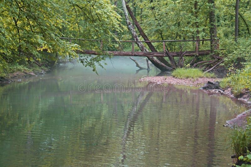 Puente en niebla de la mañana fotos de archivo