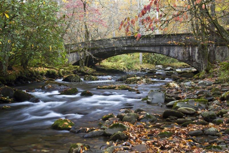 Puente escénico en las grandes montañas ahumadas NP imágenes de archivo libres de regalías