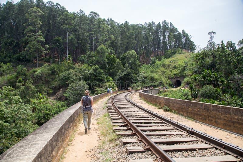 Puente famoso de nueve arcos en Demodara, Sri Lanka fotografía de archivo