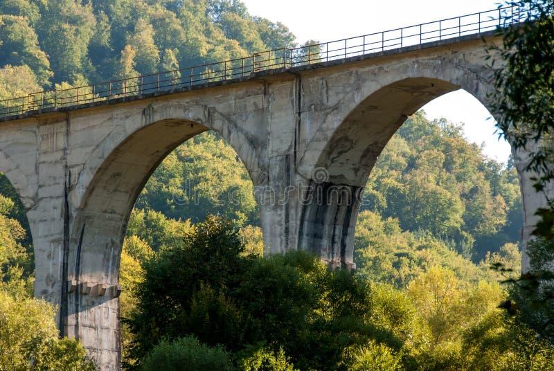Puente ferroviario entre las montañas fotos de archivo