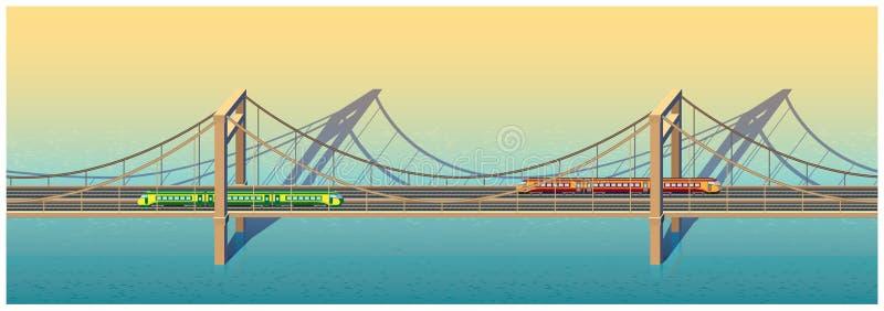 Puente ferroviario soleado ilustración del vector