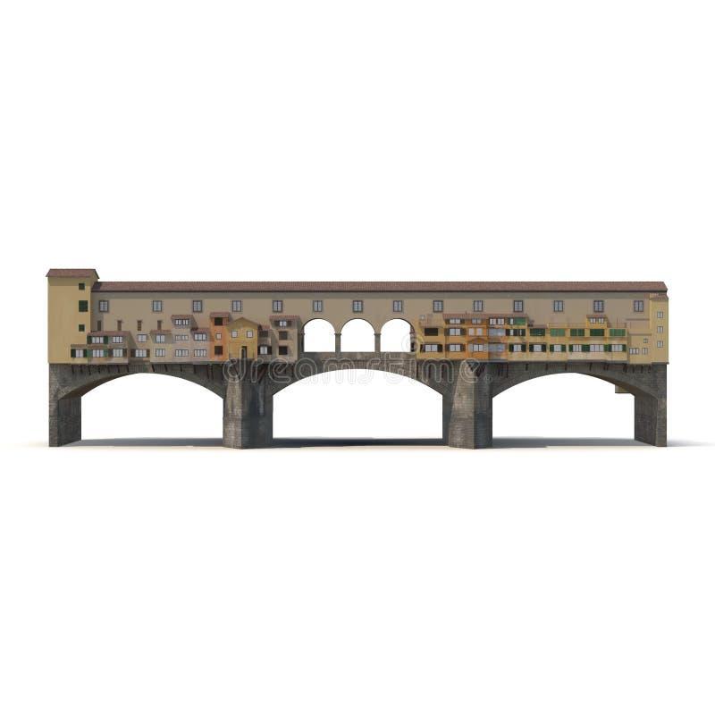 Puente Florencia de Ponte Vecchio en blanco ilustración 3D ilustración del vector