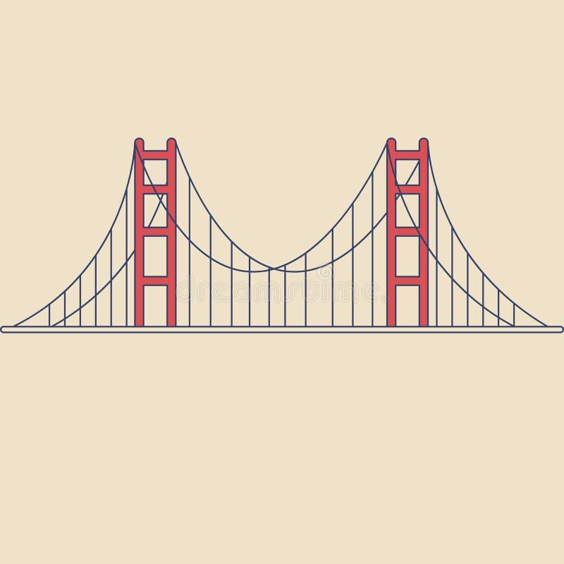 Puente Golden Gate del vector en estilo plano moderno en fondo ligero Cartel con puente Golden Gate ilustración del vector