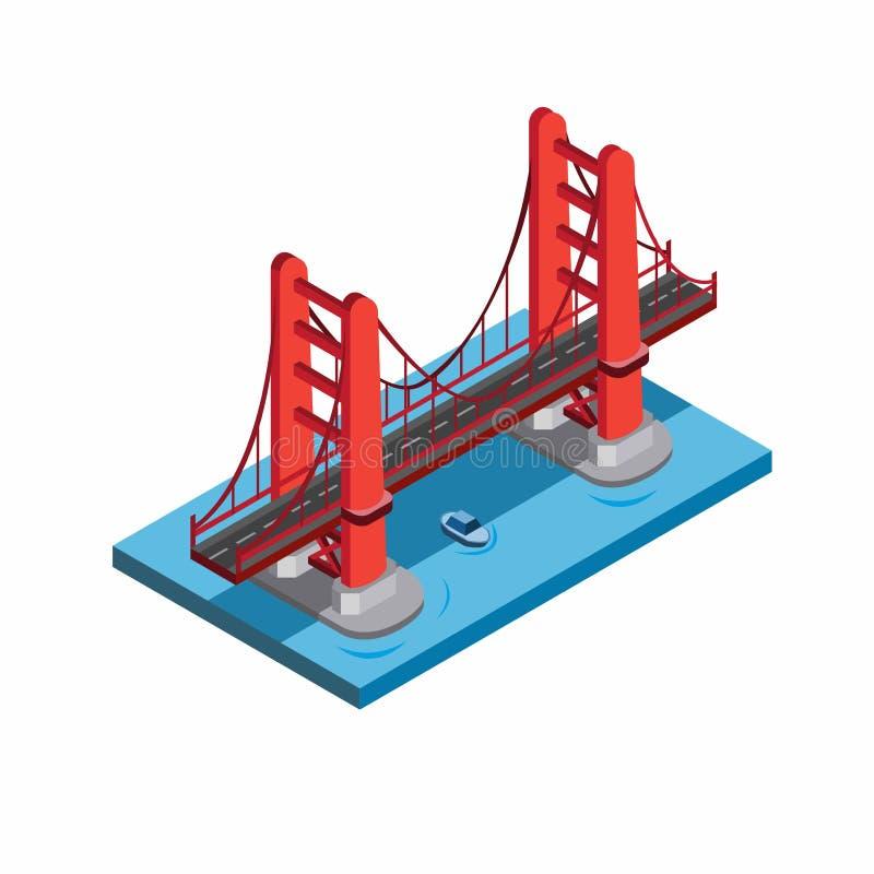 Puente Golden Gate, San Francisco, edificio emblemático en miniatura ilustración en estilo plano isométrico ilustración del vector