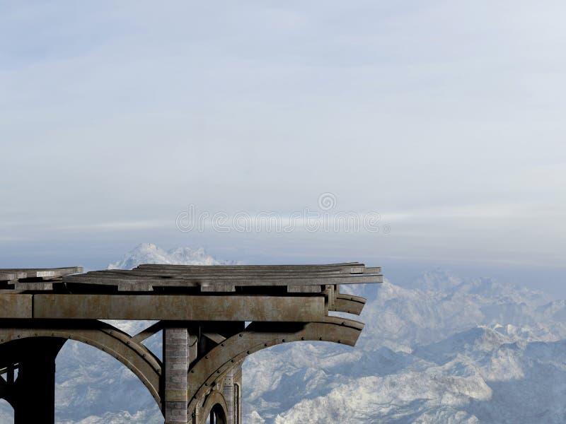 Puente hacia fuera, ejemplo peligroso del camino ilustración del vector