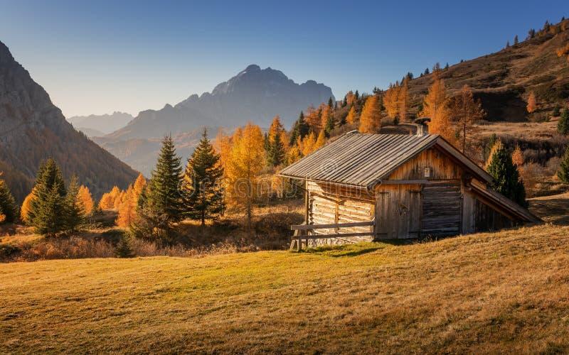 Puente a los colores del otoño Passo Falzarego fotos de archivo libres de regalías
