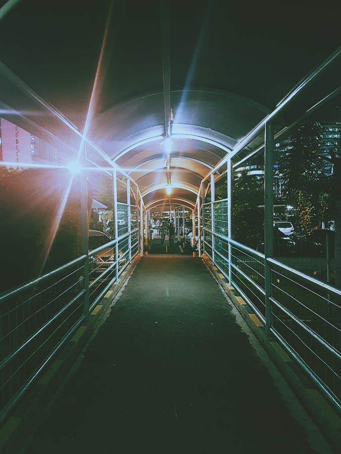Puente melancólico oscuro en la alameda de Pondok Indah foto de archivo