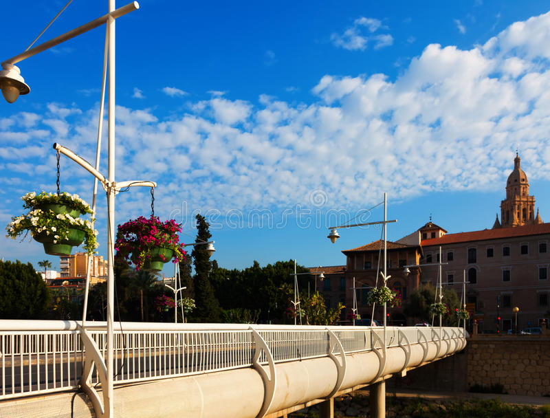 Puente Miguel Caballero med domkyrkan i bakgrund murcia arkivbild