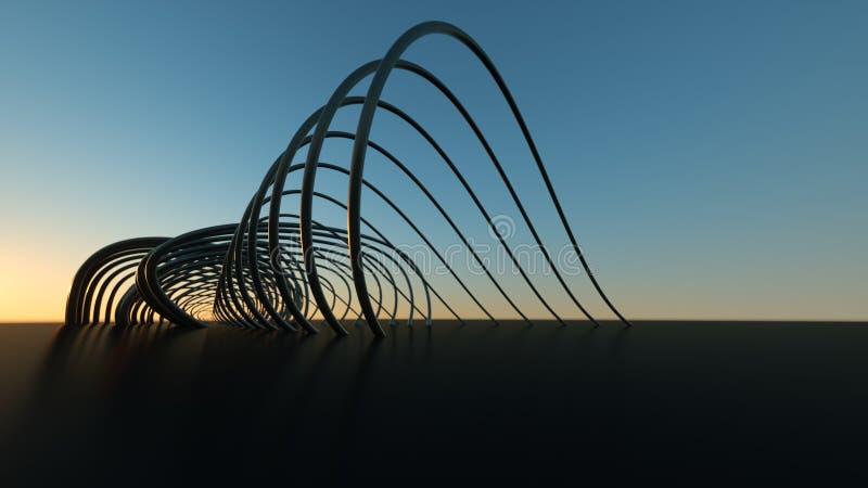 Puente moderno curvado en el puente moderno que curva realista dimensional de la puesta del sol 3 en la puesta del sol foto de archivo
