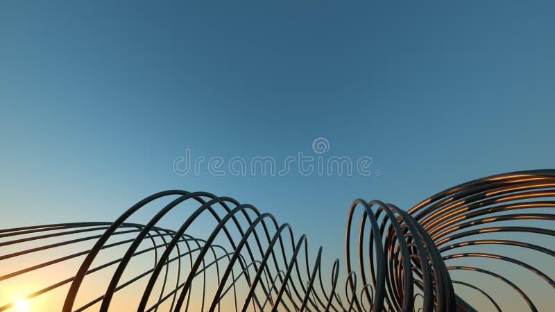 Puente moderno curvado en el puente moderno que curva realista dimensional de la puesta del sol 3 en la puesta del sol imagen de archivo libre de regalías