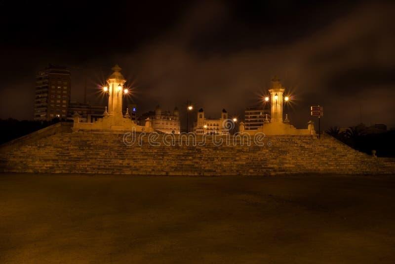 Puente notte di Del Mar, Valencia, Spagna immagini stock