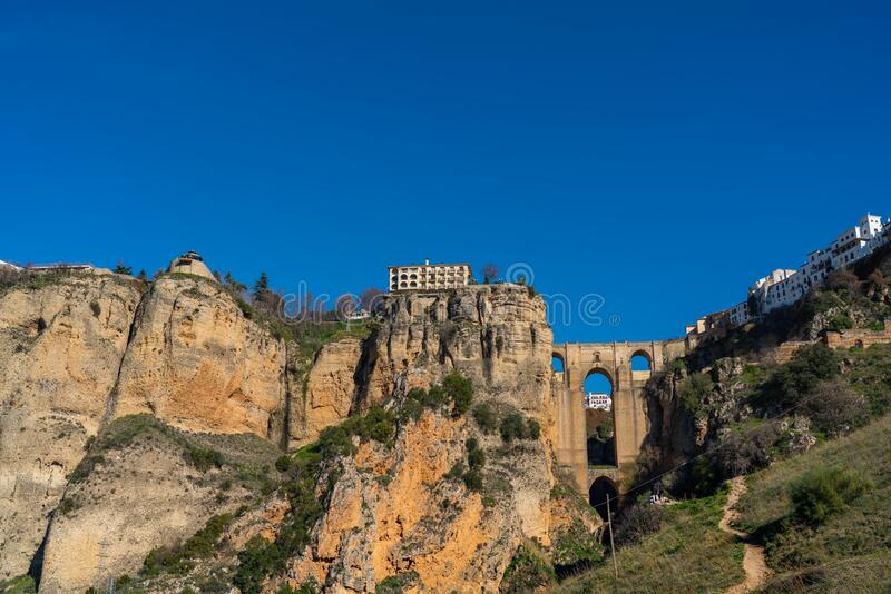 Puente Nuevo Bridge, Ronda, Province Malaga, Andalusia, Spain. Copy space for text.  royalty free stock image