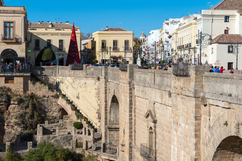 Puente Nuevo most i architektura stary miasteczko, jeden sławne białe wioski w Andalusia, Hiszpania zdjęcie stock
