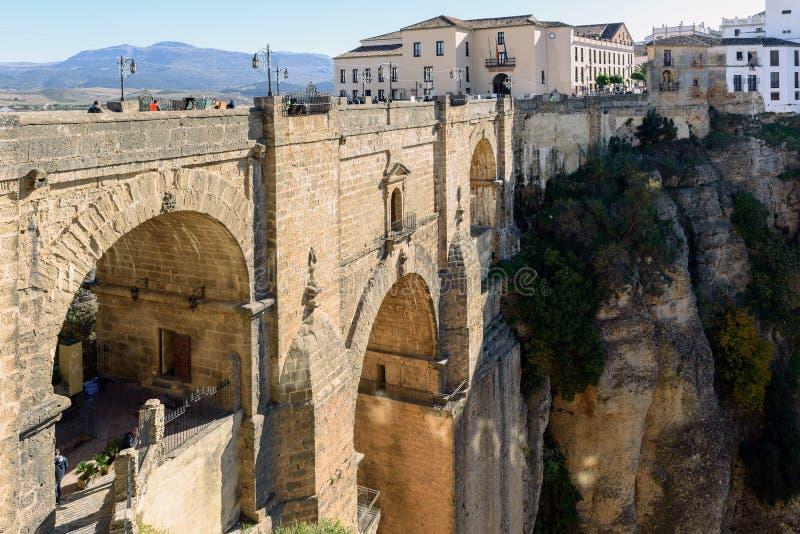 Puente Nuevo most w Ronda, jeden sławne białe wioski w Andalusia, Hiszpania zdjęcie royalty free