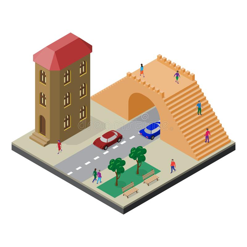 Puente peatonal, camino, casa, bancos, árboles, coches y gente Paisaje urbano en la visi?n isom?trica libre illustration