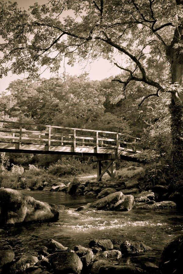 Puente romántico en el río fotografía de archivo libre de regalías